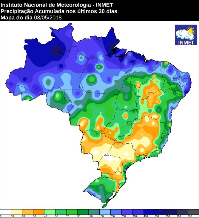Mapa com a precipitação acumulada em todo o Brasil nos últimos 30 dias - Fonte: Inmet