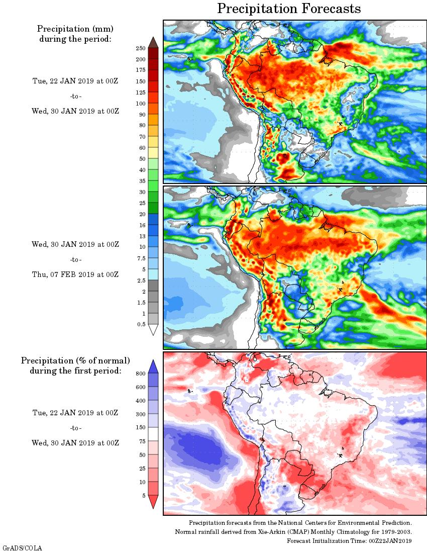 Mapa com a tendência de precipitação acumulada para o período de 22 de janeiro até 07 de fevereiro - Fonte: National Centers for Environmental Prediction/NOAA