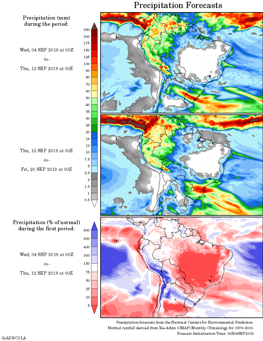 Mapa com a tendência de precipitação acumulada para o período de 04 até 20 de setembro: Fonte: National Centers for Environmental Prediction/NOAA