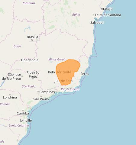 Mapa das áreas com alerta de acumulado de chuva nesta 3ª feira - Fonte: Inmet