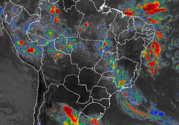 Imagem de satélite de todo o Brasil nesta segunda-feira (04) - Fonte: Inmet