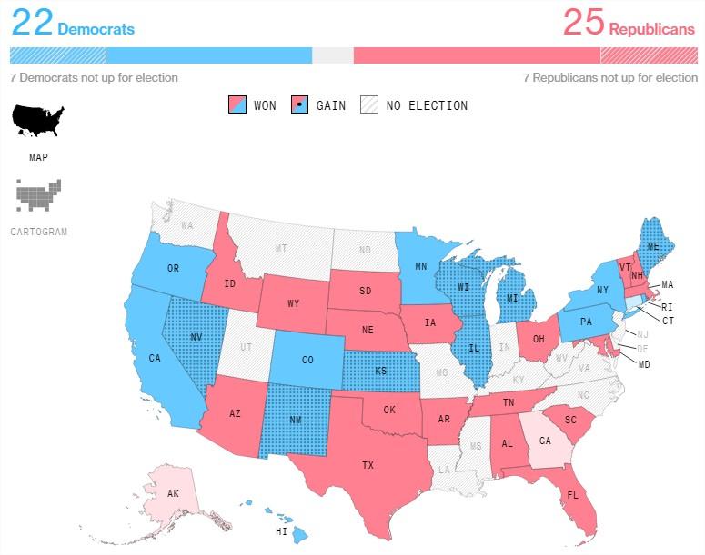 Eleições EUA 2018 - Governadores