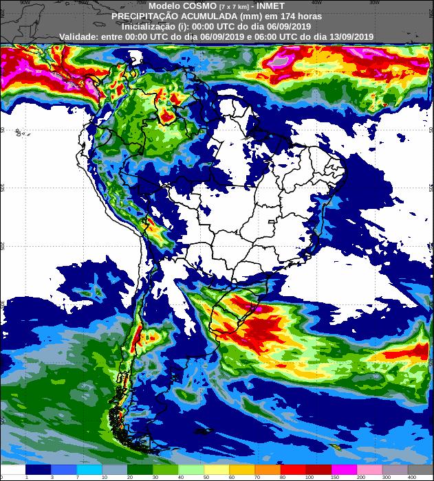 Mapa de precipitação acumulada para os próximos sete dias em todo o Brasil: Fonte: Inmet
