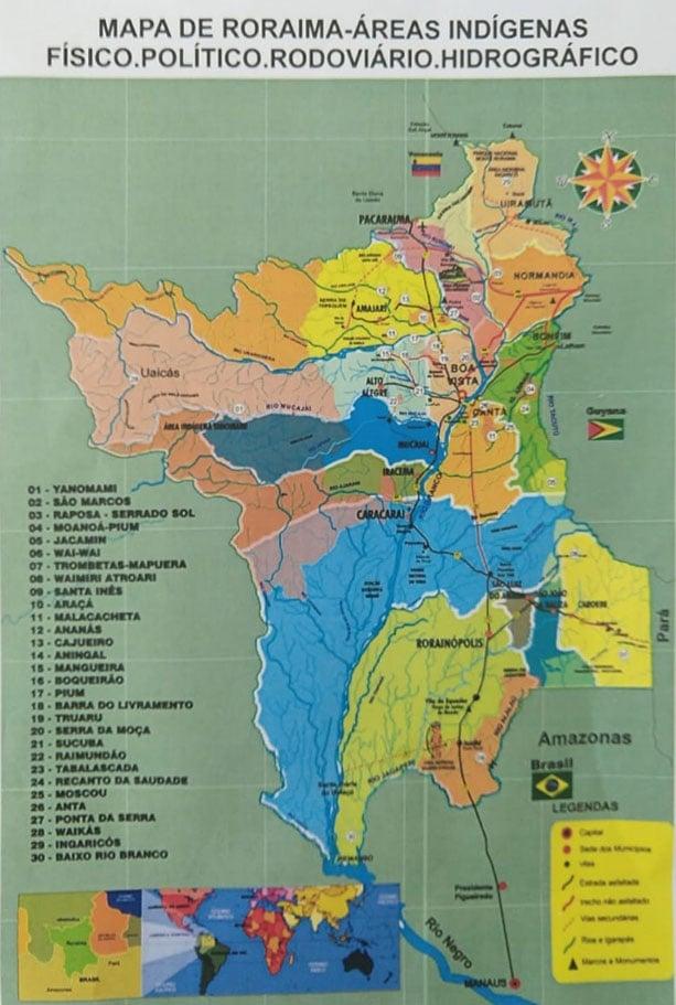 Mapa de Roraima - Terras indígenas - físico, político, rodoviário hidrográfico