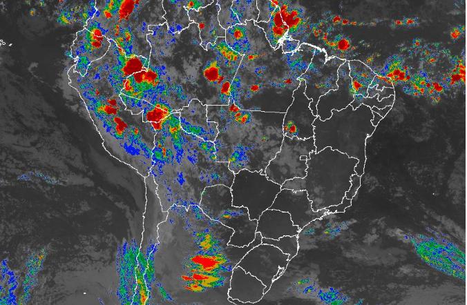 Imagem de satélite de todo o Brasil nesta quarta-feira (24) - Fonte: Inmet
