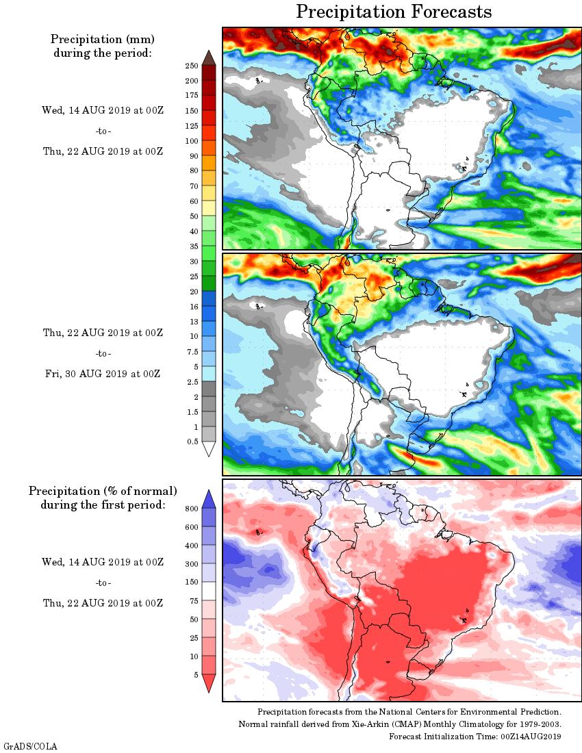 Mapa com a tendência de precipitação acumulada para o período de 14 até 30 de agosto - Fonte: National Centers for Environmental Prediction/NOAA