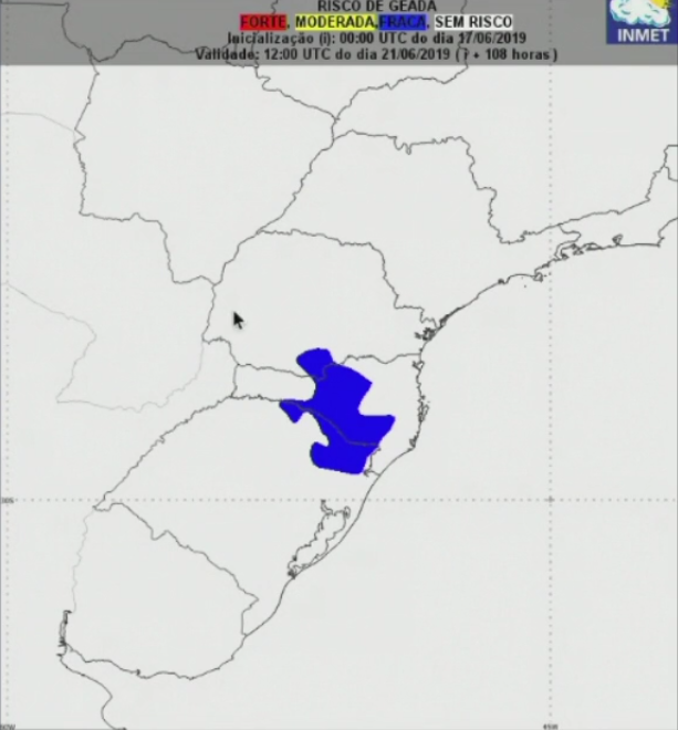 Mapa de geada na quinta (20) e sexta-feira (21) no Brasil - Fonte: Inmet
