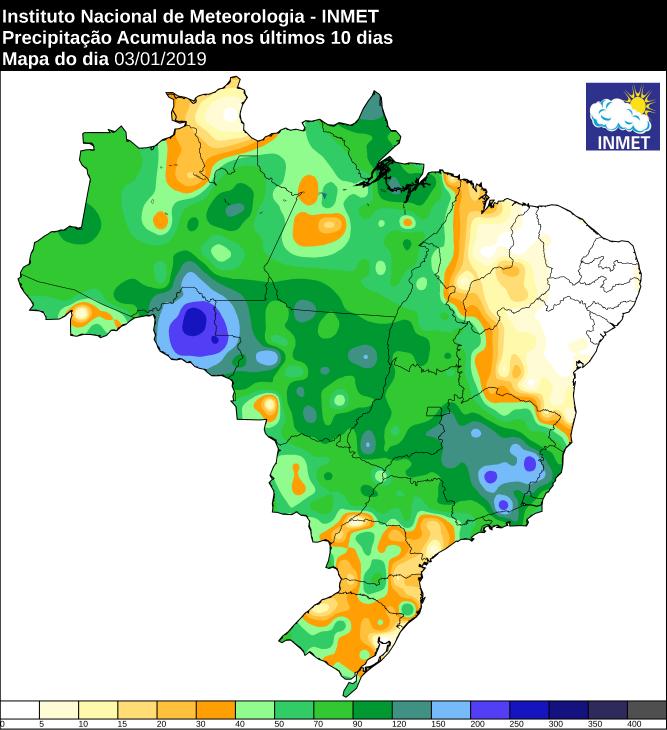 Mapa de precipitação acumulada nos últimos 10 dias em todo o Brasil - Fonte: Inmet