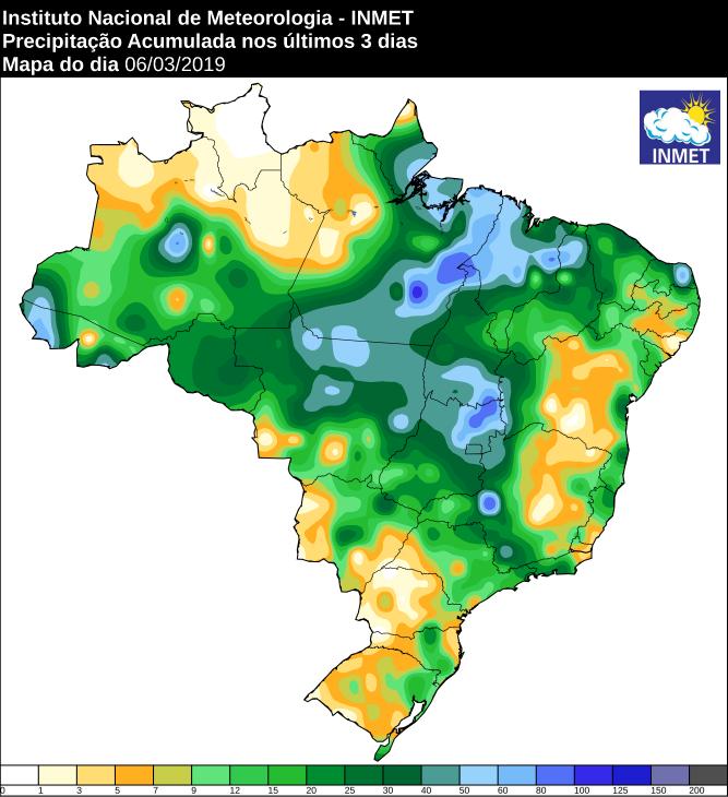 Mapa de precipitação acumulada dos últimos 3 dias no Brasil - Fonte: Inmet