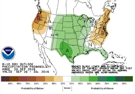 Chuvas nos próximos 6 a 10 dias nos EUA - Fonte: NOAA