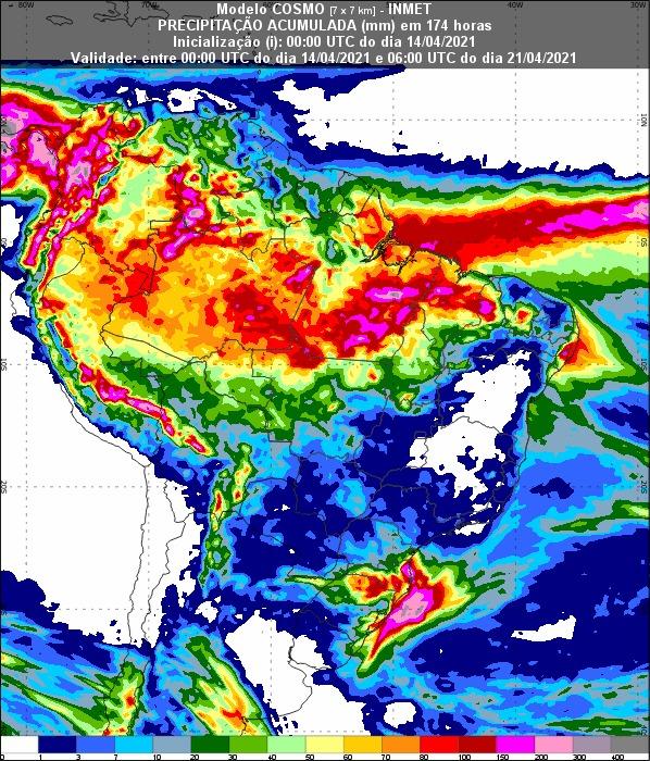 Mapa com a previsão de chuva acumulada para os próximos 7 dias em todo o Brasil - Fonte: Inmet