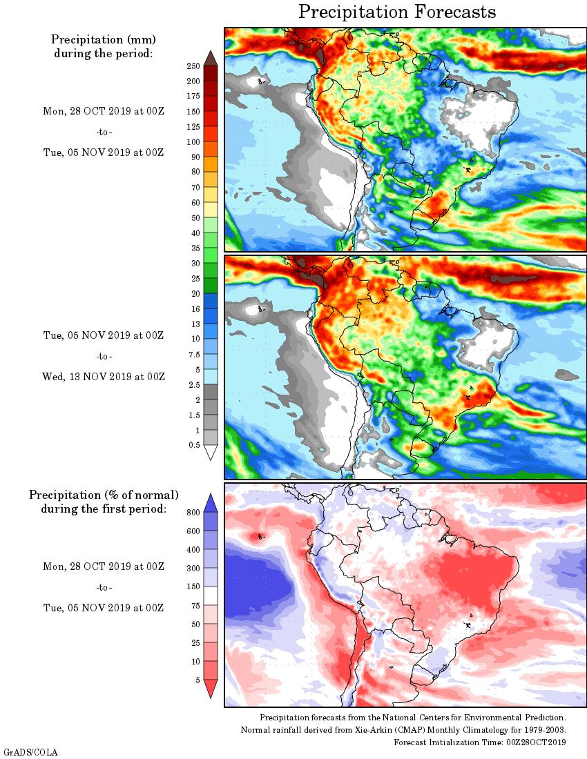 Mapa com a tendência de precipitação acumulada para o período de 28 de outubro até 13 de novembro - Fonte: National Centers for Environmental Prediction/NOAA
