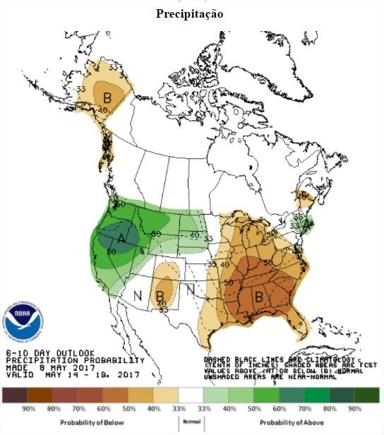 Precipitações previstas nos próximos 6 a 10 dias nos EUA - Fonte: NOAA