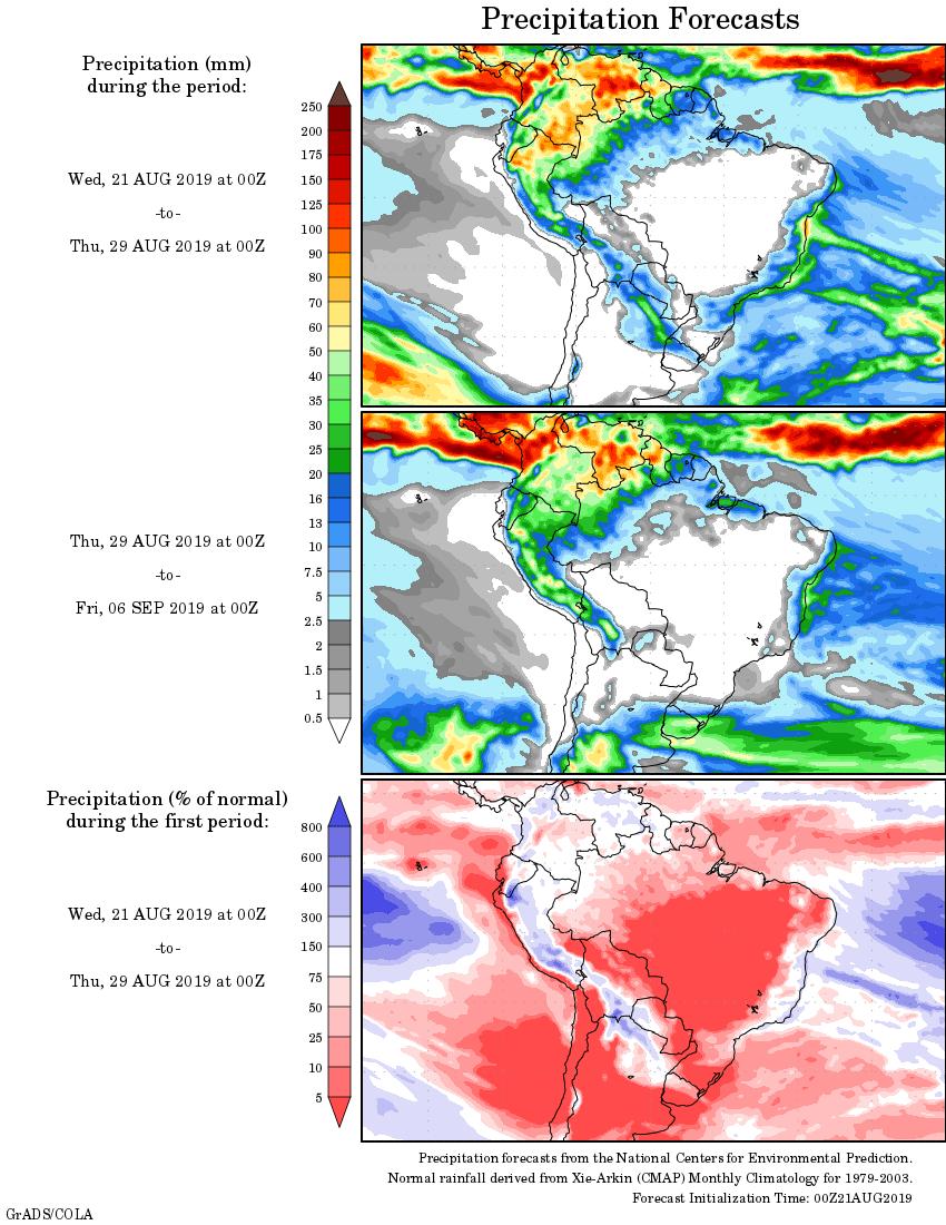 Mapa com a tendência de precipitação acumulada para o período de 21 de agosto até 06 de setembro - Fonte: National Centers for Environmental Prediction/NOAA
