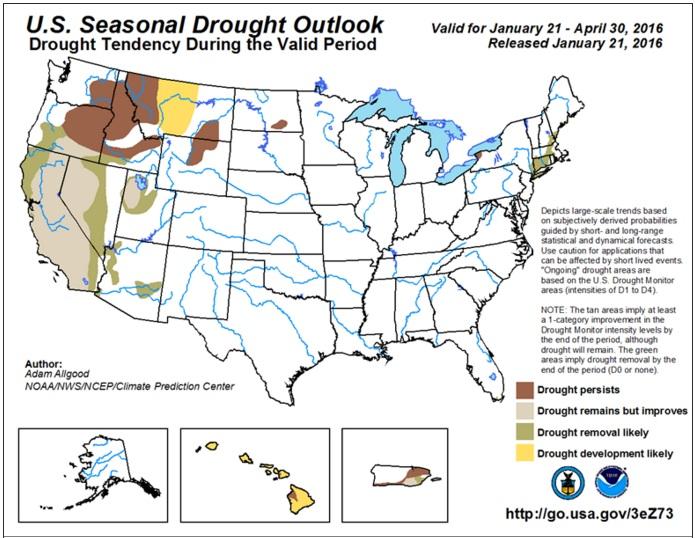 Clima nos EUA Safra 2016.17 - Drought Monitor
