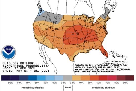 Temperaturas EUA 1 a 5 de maio de 2021 - Fonte: NOAA