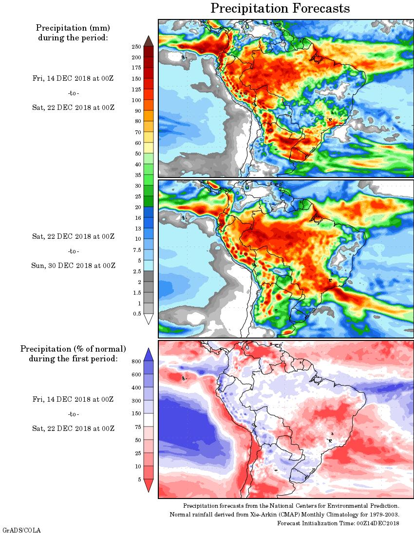 Mapa com a tendência de precipitação acumulada para o período de 14 de dezembro até 30 de dezembro - Fonte: National Centers for Environmental Prediction/NOAA Fonte: National Centers for Environmental Prediction/NOAA