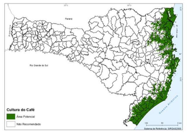Café em Santa Catarina - Pesquisadores da Epagri/Ciram delimitaram mapa com região potencialmente apta