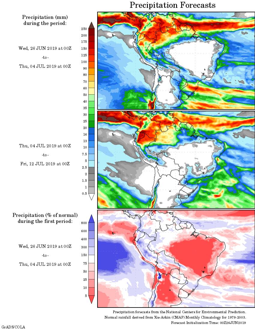 Mapa com a tendência de precipitação acumulada para o período de 26 até 12 de julho - Fonte: National Centers for Environmental Prediction/NOAA