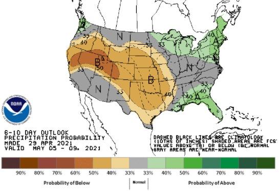 Clima nos EUA de 5 a 9 de maio - Fonte: NOAA