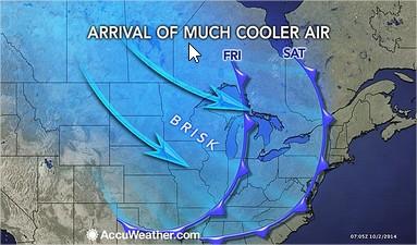 Mapa EUA 1 - Chegada da frente fria - 2014