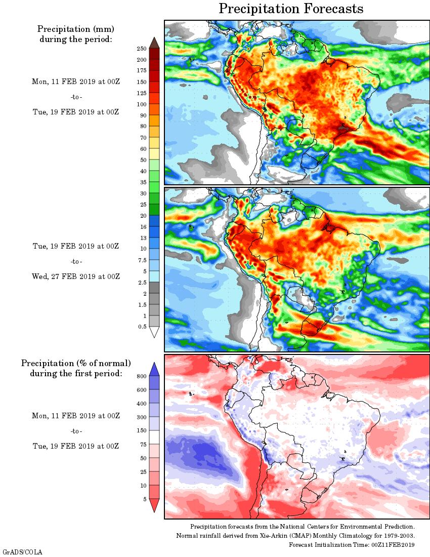Mapa com a tendência de precipitação acumulada para o período de 11 de fevereiro até 27 de fevereiro - Fonte: National Centers for Environmental Prediction/NOAA