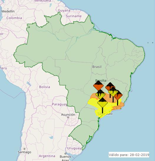 Mapa das áreas com alerta nesta 5ª feira - Fonte: Inmet