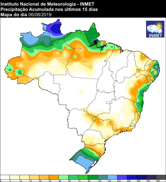 Mapa de precipitação acumulada dos últimos 15 dias em todo o Brasil - Fonte: Inmet