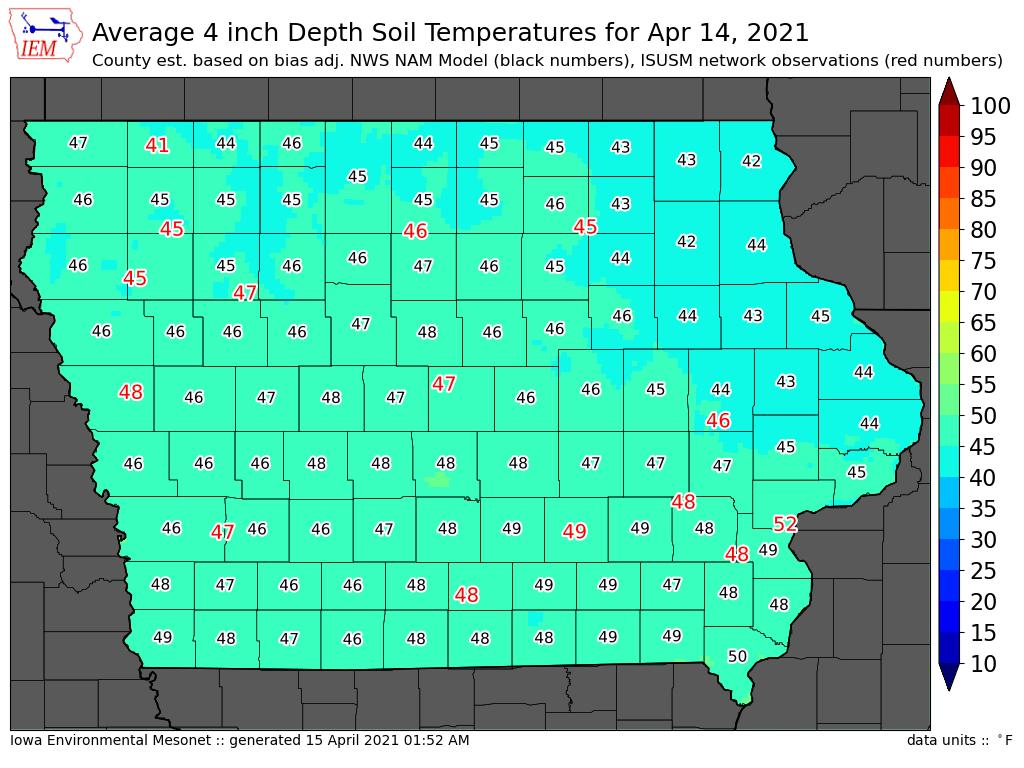 Temperaturas solo Iowa - Abril 2021