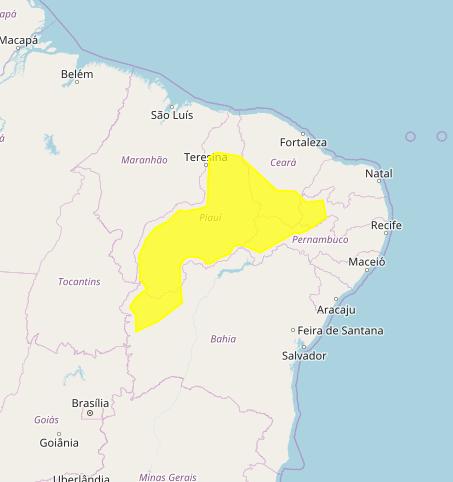 Mapa das áreas com previsão de altos acumulados nesta 6ª feira / Matopiba  - Fonte: Inmet