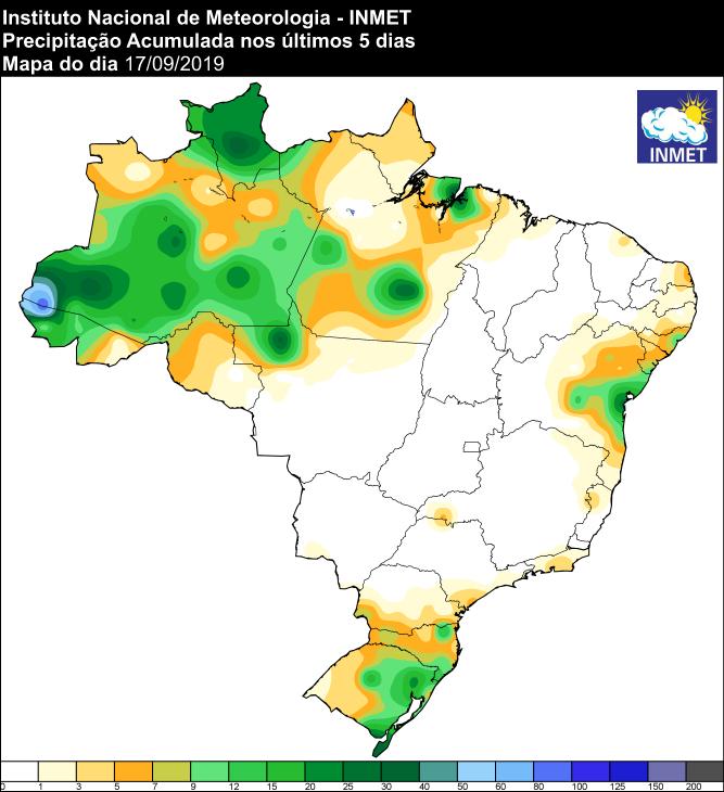 Mapa das áreas com precipitação acumulada nos últimos 5 dias - Fonte: Inmet