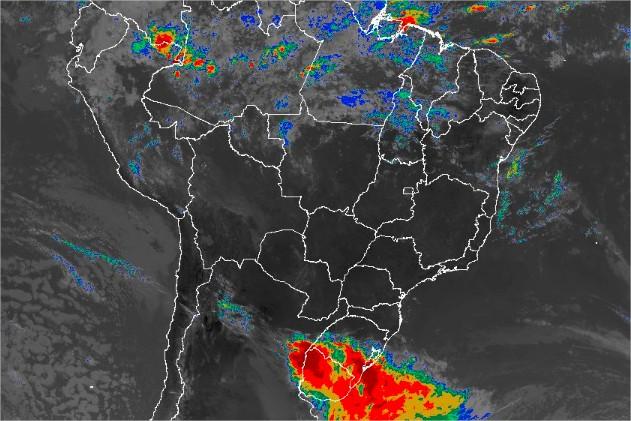 Imagem de satélite de todo o Brasil nesta sexta-feira (14) - Fonte: Inmet
