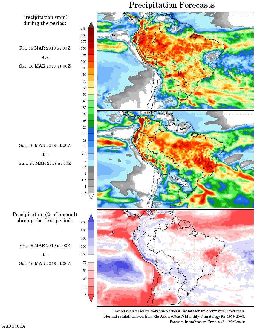Mapa com a tendência de precipitação acumulada para o período de 08 de março até 24 de março - Fonte: National Centers for Environmental Prediction/NOAA
