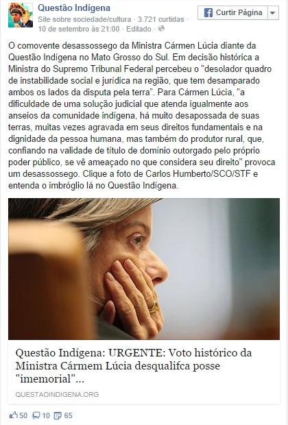 Facebook Questão Indígena - Voto ministra Carmem Lúcia