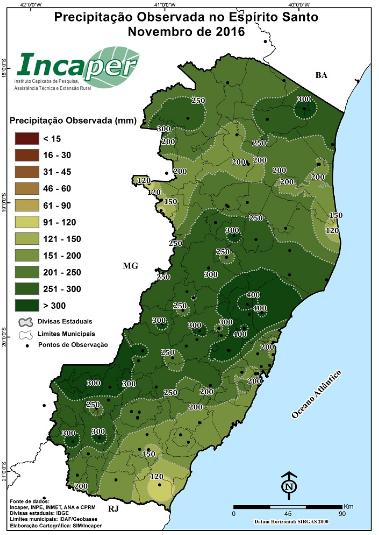 Precipitação observada no ES em novembro - Fonte: Incaper