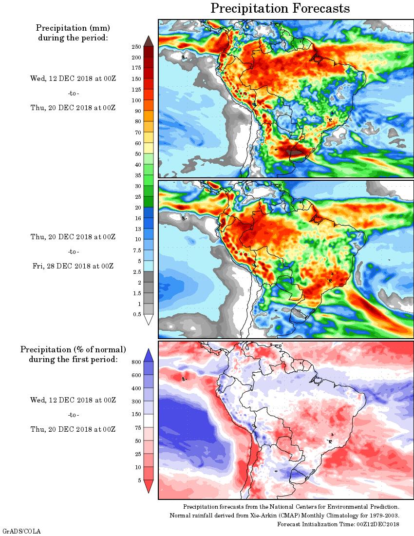 Mapa com a tendência de precipitação acumulada para o período de 12 de dezembro até 28 de dezembro - Fonte: National Centers for Environmental Prediction/NOAA