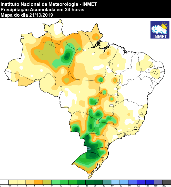 Mapa de precipitação acumulada das últimas 24 horas em todo o Brasil - Fonte: Inmet