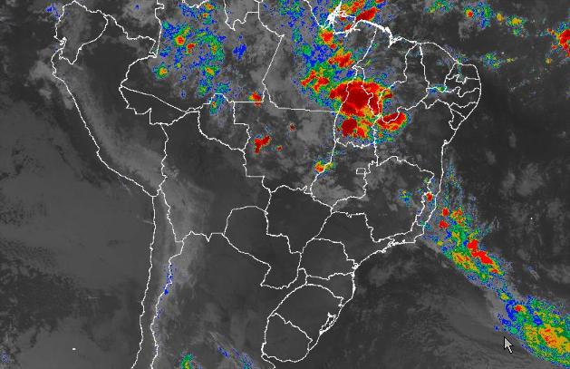 Imagem de satélite de todo o Brasil nesta quarta-feira (10) - Fonte: Inmet