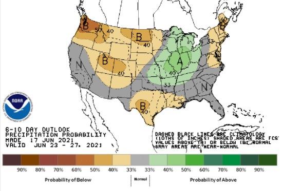 Clima nos EUA entre 23 e 27 de junho - Fonte: NOAA
