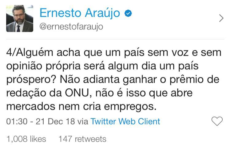 twitter do ernesto araujo