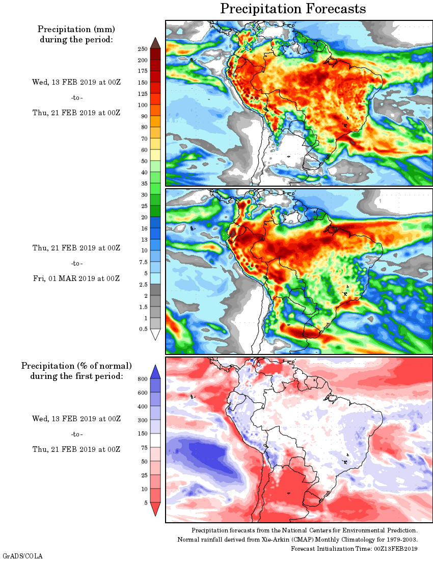 Mapa com a tendência de precipitação acumulada para o período de 13 de fevereiro até 01 de março - Fonte: National Centers for Environmental Prediction/NOAA
