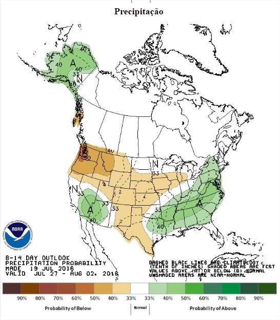 Chuvas previstas nos EUA entre os dias 27 de julho e 2 de agosto - Fonte: NOAA