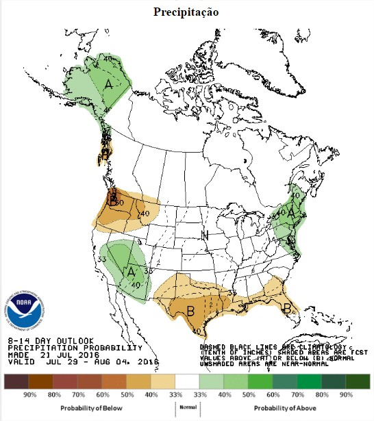 Chuvas previstas nos EUA entre os dias 29 de julho a 4 de agosto - Fonte: NOAA