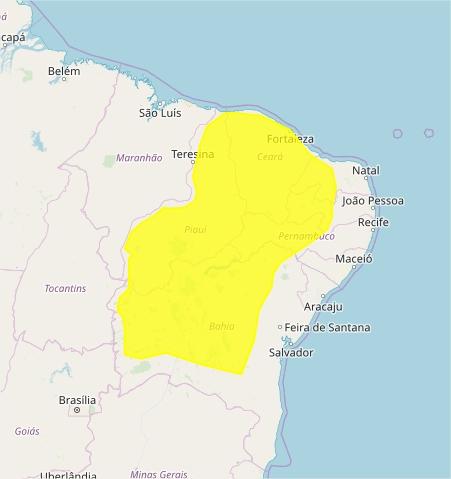 Mapa das áreas com alerta de acumulado de chuva nesta 5ª - Fonte: Inmet