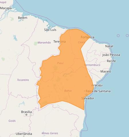 Mapa das áreas com alerta de acumulado de chuva nesta 2ª feira - Fonte: Inmet