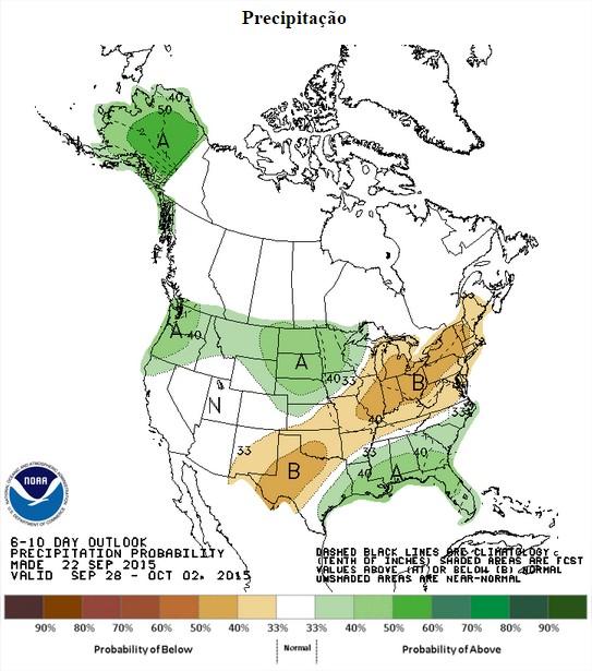 Previsão de chuvas nos EUA entre os dias 28 de setembro a 2 de outubro - Fonte: NOAA
