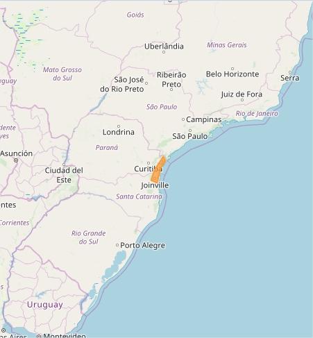 Mapa das áreas com alerta de tempestade nesta 4ª feira - Fonte: Inmet