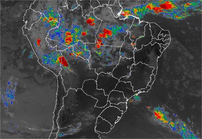 Imagem de satélite de todo o Brasil nesta terça-feira (22) - Fonte: Inmet