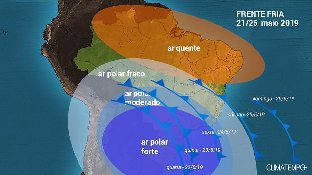 Deslocamento do ar frio de origem polar sobre o BR entre 21 e 26 de maio de 2019 - Fonte: Climatempo