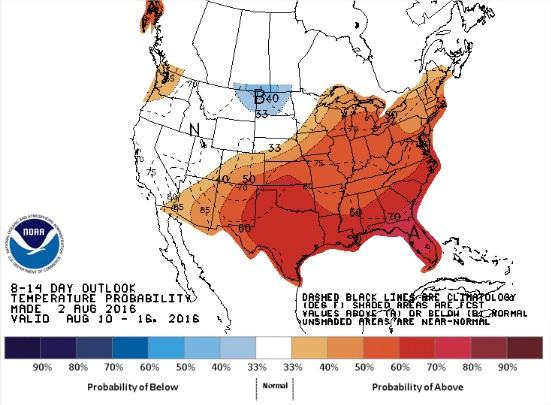 Previsão de Temperaturas nos EUA para 10 a 16 de agosto - Fonte: NOAA